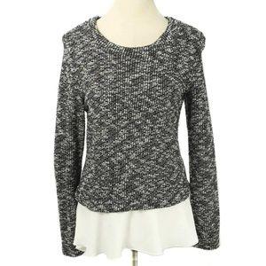 The Cue Cher Qu Black & White Chiffon Hem Sweater